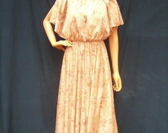 SALE 70s Mauve Pink Cherry Blossom Dress size Small Capelet Top Maxi Dress