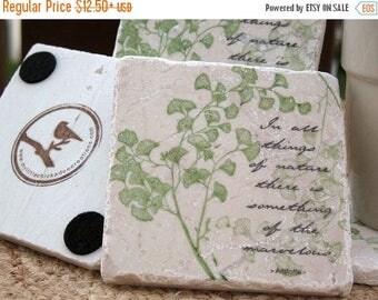 XMASINJULYSale Tile Coasters - Ginkgo Leaf Design - Mother's Day Gift for the Gardener - Nature Home Decor