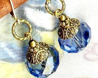 Earrings blue tits ❀ Crystal Bohemian blue OR721 ❀
