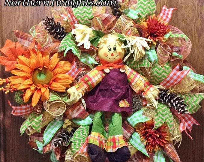 SALE- Scarecrow Girl Floral Pine Cones - Welcome Door Wreath
