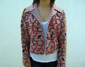40% SUMMER SALE Orange and Blue Plaid 70s Blazer Jacket