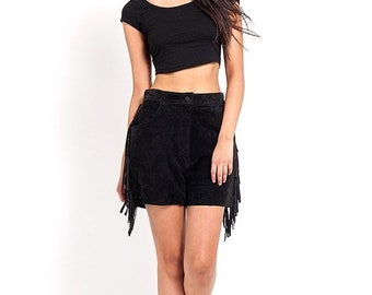 40% OFF The Black High Waisted Fringe Suede Shorts