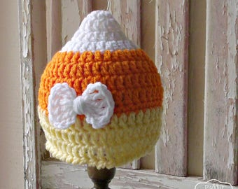 Candy Corn Baby Hat Crochet Baby Candy Corn Hat with Bow, Newborn Fall Baby Girl Hat, Baby Halloween Hat, Fall Baby Shower Gift