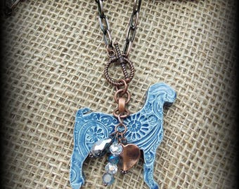 """Boer Show Goat Kiln Fired Pottery Pendant,  Livestock Jewelry Bead/Chain  Necklace, Approx 25"""" (end to end)"""