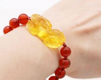 Protection and abundance women's bracelet - carnelian and citrine Pi Xiu