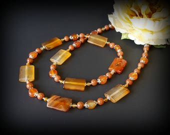 Long Red Agate Necklace Carnelian Rectangle Bead Fall Birthday gift Gemstone Statement Necklace for Women Mom Gift Idea Energy Jewelry