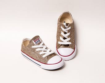 Toddler - Glitter - Champagne Gold Converse Canvas Low Tops Sneakers Tennis Shoes
