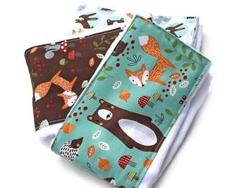SALE Burp Cloths - Woodland Burp Cloths - Animal Burp Cloth / Baby Clothes- Set of 3 // Cotton Diaper Burp Cloth / Baby Shower Gift / Foxes