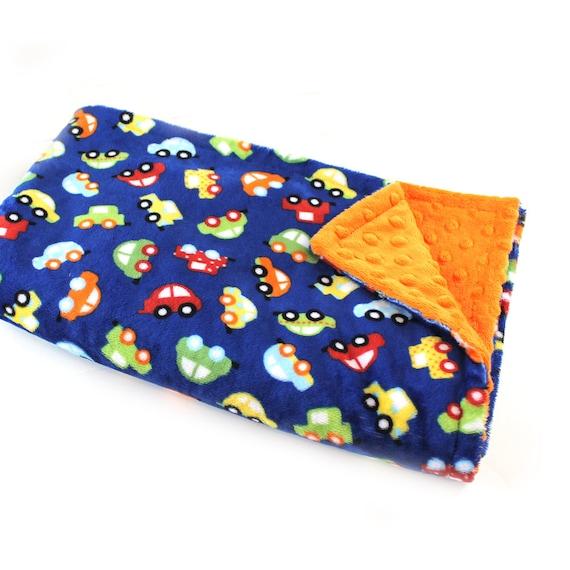 48 x 60 Toddler Blanket // Blue Car Minky Baby Blanket Personalized Blanket Toddler Size / Blue Car Throw Blanket / Blue Baby Blanket
