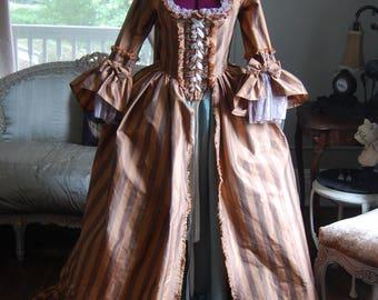 Striped silk sack back dress muted teal shimmer satin skirt Marie Antoinette Victorian inspired rococo costume dress