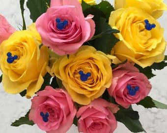 Disney Wedding FREE SHIP 12  Hidden Mickeys  Bouquets  Royal Blue Floral Pins Flower Picks Corsage Pins