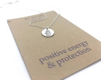 Hamsa Necklace - Sterling Silver Hamsa Necklace - Yoga necklace - Simple necklace - Spiritual Necklace - Gift for Yogi - Hand Stamped