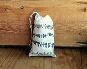Mini Drawstring Pouch - Reusable Gift Bag - Jewelry Pouch - Gift Card Bag - White Navy Aqua