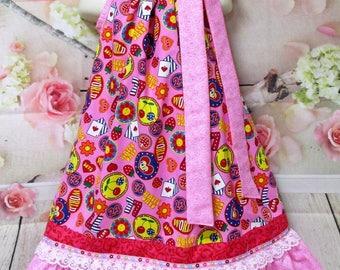 SALE SALE Girls Dress 5/6 Pink Hearts, Flowers, Love, Hearts Pillowcase Dress, Sundress, Pillow Case Dress, Boutique Dress