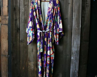1950s Hand Printed Japanese Kimono Bohemian Fashion Robe Bright Boho Colors Purple Reds Blues Vintage From Nowvintage on Etsy