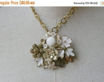 Memorial Day SALE Collage Necklace White Gold Milk Glass Vintage Brooch Assemblage Bride Pearl