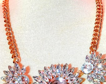 Wedding Bridesmaid Clear Large Sparkly Crystal Vintage Style Statement Bib Necklace
