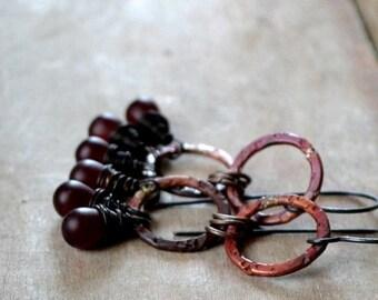 ON SALE Rustic earrings, textured copper and glass bead earrings, bohemian earrings, antiqued copper earrings - Venus