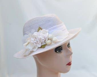 Womens Summer Fedora Hat With Vintage Trim / Ivory Nylon Summer Hat / Vintage Inspired Fedora / Summer Garden Party Hat