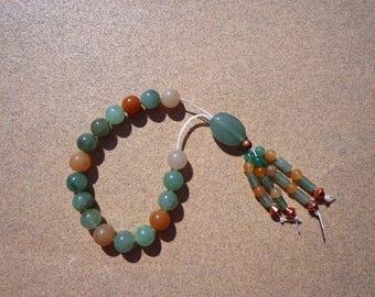 Worry Beads, Green and Reddish Orange Aventurine Gemstones, Copper Beads, Fidget Beads, Meditation Beads, Mental Clarity Stone