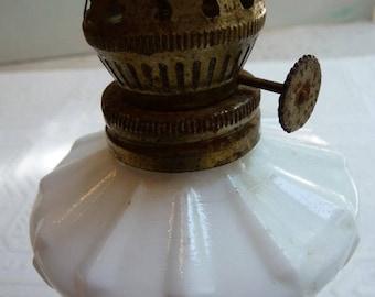 vintage lamp, milk glass, vintage milk glass, oil lamp base, cottage chic, vintage home decor, victorian, unique, white glass, metal base