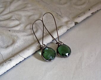 Seafoam Green Glass Earrings Faceted Stained Glass Jewelry