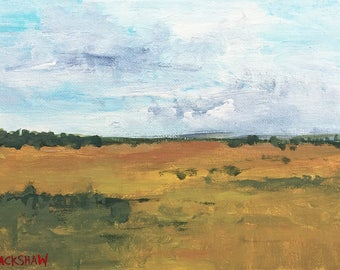 """Original Painting - Field No. 3 - 6"""" x 8"""" Acrylic Landscape Painting on Canvas"""