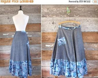 "SALE 70s denim wrap skirt / 1970s handmade denim maxi skirt / waist 31"""