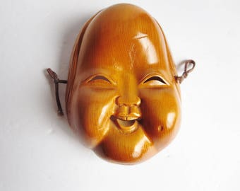 Vintage Wooden Japanese Smile Face Mask - Ofuku, Otafuku, Okame Wooden Mask - Traditional Noh Mask - Ichii-itto Carved Mask Wall Hanging