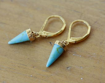Blue SPIKES Earrings, Geometrical, Minimalist, Fall Fashion, Birthday Gift for Wife, for Sister, for Girlfriend, for Niece, Cone Earrings