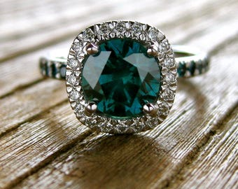 Teal Blue Diamond Engagement Ring in 14K White Gold with Diamonds in Halo-Style Setting Size 6