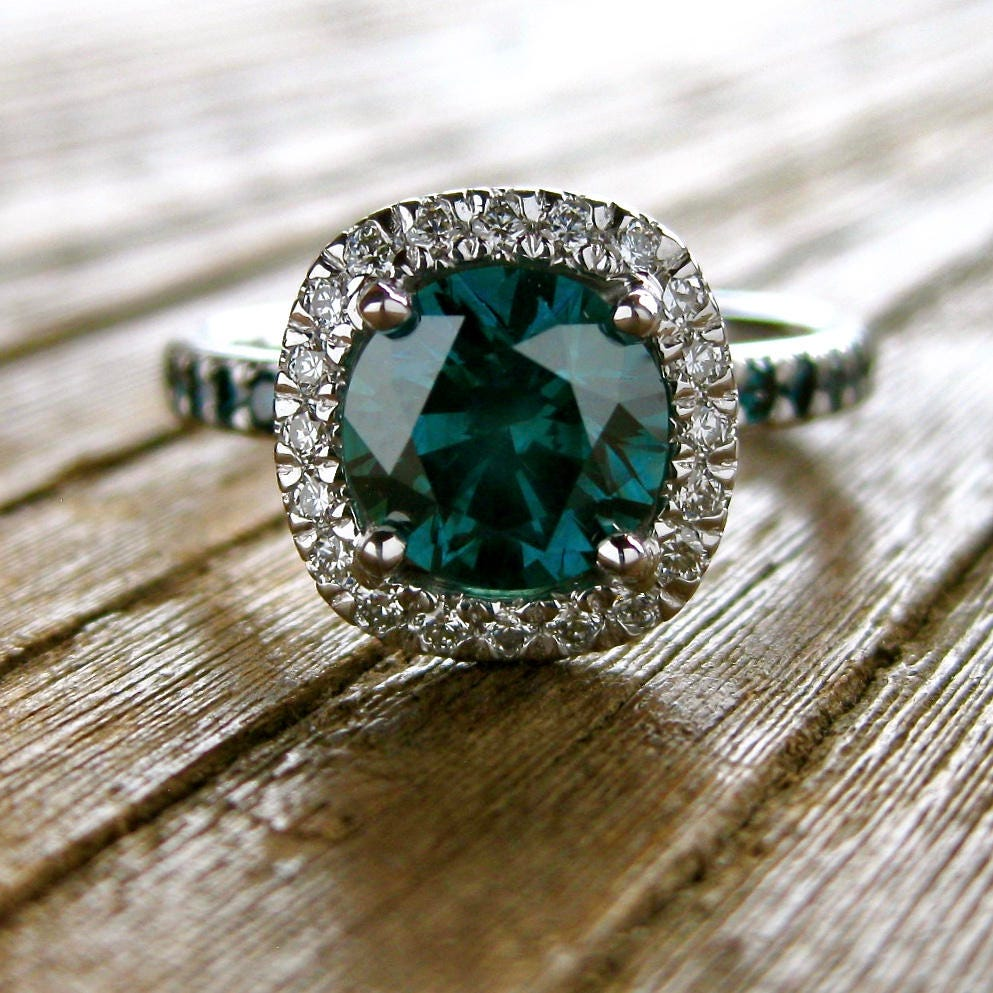 Teal Blue Diamond Engagement Ring In 14k White Gold With