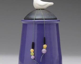 Ceramic Bird jar, purple,black,handmade pottery jar ,home decor,Little Clay Bird on Jar, raku fired art pottery, handmade jar with lid