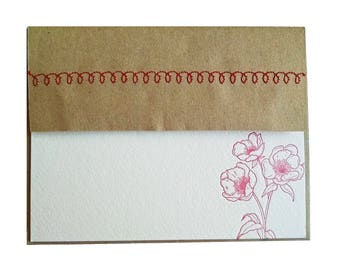 Red Flower Letterpress Stationery with Sewn Envelope - 5 pack