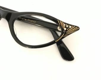 Winged Gilded Black Cat Eye Glasses Frame Horn Rimmed CatsEye Eyeglasses NEVer Used Spectacular NOS 50s 60s Rhinestone Batwing Sunglasses