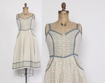 Vintage 70s GUNNE SAX DRESS / 1970s Ivory & Dusty Blue Floral Bohemian Full Skirt Corset Lace Sleeveless Midi S - M