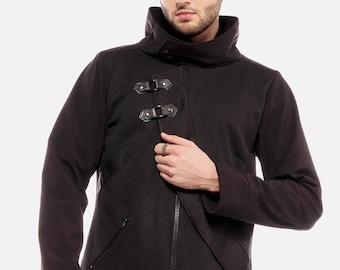 ON SALE Asymmetrical cyberpunk men's jacket with cowl neckline by Plastik Wrap, all sizes.