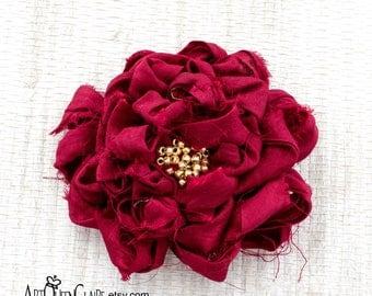 Burgundy Sari Silk Fabric Flower Pin, Burgundy Flower Brooch, Burgundy Beaded Flower Brooch