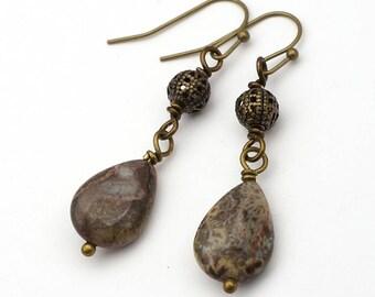 Earthtones teardrop earrings, brass bead, French hooks, dangle