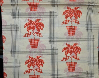 Vintage Merry Christmas Wrapping Paper Gift Wrap HEAVY TISSUE PAPER red Poinsettias