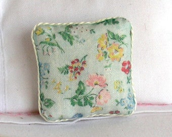 1:12 Pillow - Floral on Pale Green - Handmade Dollhouse Scale Miniature - Shabby Cottage Chic *Free Shipping*