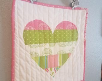 READY TO SHIP Quilted Heart Hanging Valentines Home Decor Pink Green with Decorative Hanger