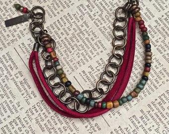 Southwestern Beaded Leather Bracelet