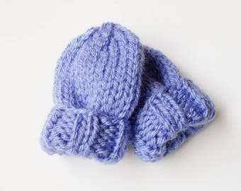 Hand Knit Baby Mittens Size 3 to 6 Months, Lavender Blue No Thumb Mitts, READY TO SHIP, Infant Boy or Girl Child Warm Winter Hand Warmers