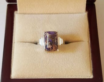 Sterling Silver and Purpe Copper Turquoise Rectangle Cabochon Ring Size 7 1/2