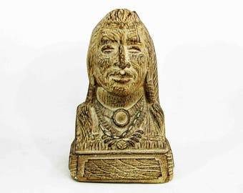 Vintage Native American Bust Glazed in Earth Tones. Circa 1970's.