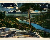 Vintage Tennessee Postcard - Tennessee River Valley from Signal Point by Moonlight (Unused)