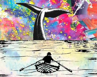 THUNDERSTORM art nautic art whale art ocean fishing storm wall decor art whale ship boat