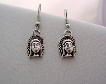 Native Indian American Chief Headdress Earrings