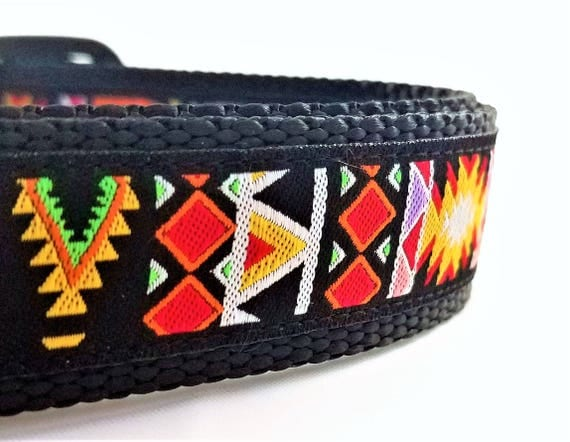 The Aztec - Dog Collar / Adjustable / Geometric / modern / Maya / Xolo / Boho / Bohemian / Large Dog Collar / Dog Collars
